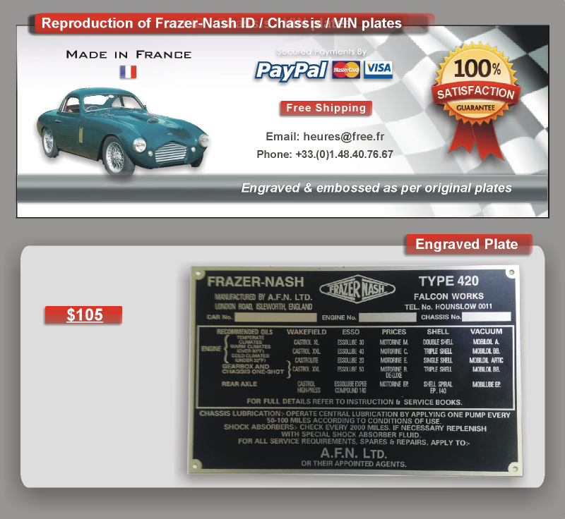 Frazer Nash Id plate - vin plate - chassis plate - data plate