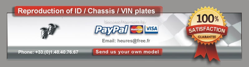 classic vin tags, Id plate, vin plate, id tag  Body tag and